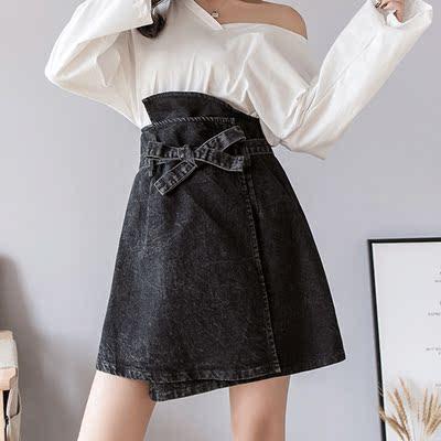 牛仔短裙女高腰不规则蝴蝶结系带2019春装新款时尚chic半身裙中裙
