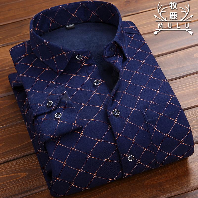 牧鹿男士保暖男长袖格子衬衫