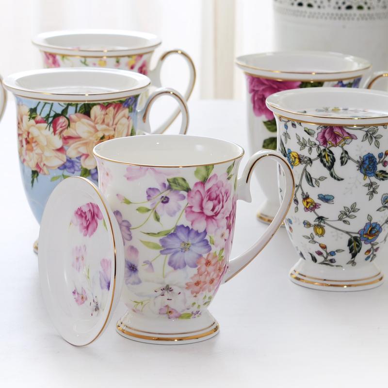 欧式唐山骨瓷咖啡杯陶瓷带盖马克杯水杯茶杯北欧杯子女家用带盖杯