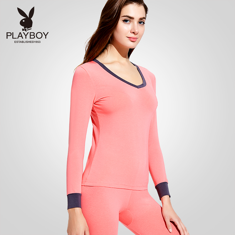 Playboy ladies qiuyi qiuku cotton modal slim thin section bottoming V-neck thermal underwear set Winter