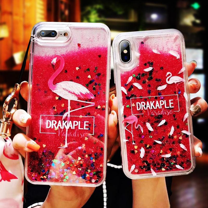 iphone8手机壳7火烈鸟苹果X硅胶套6s防摔6plus女款xs挂绳7p流沙壳