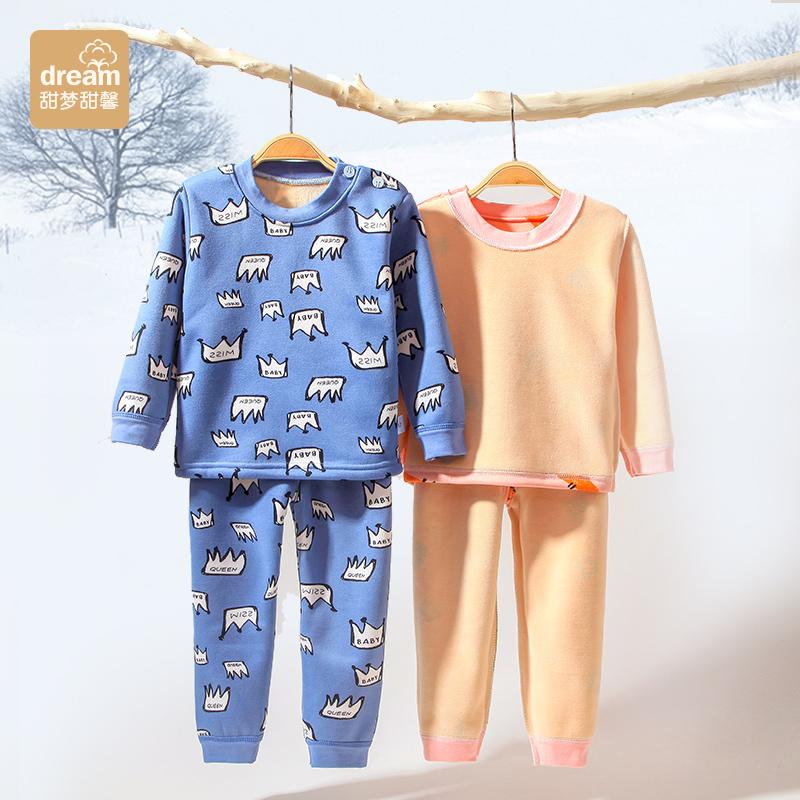 婴儿保暖内衣宝宝秋衣秋裤套装纯棉0-1岁加绒3儿童秋装4男童5女童