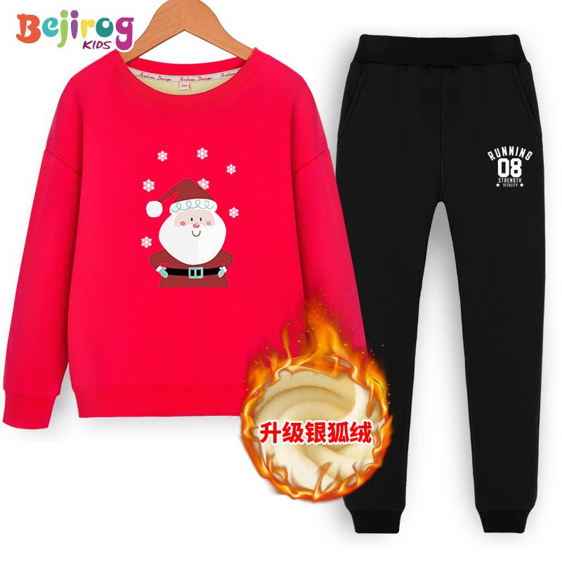 儿童加绒套装圣诞节新年大童运动服加厚男童女童洋气红色冬季童装