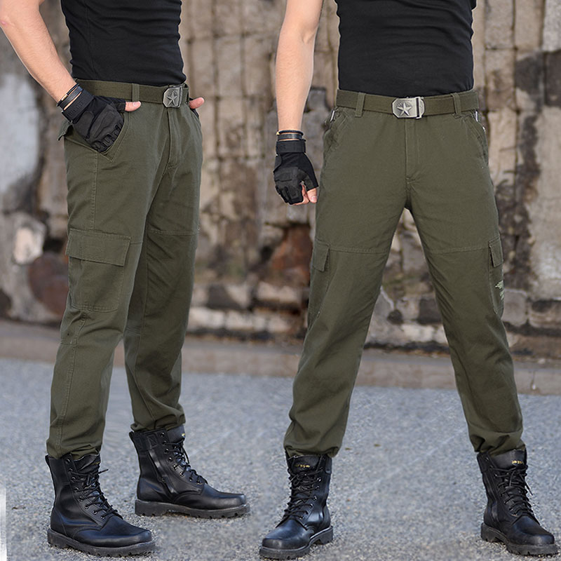 Outdoor climbing wear-resistant cotton tactical workwear pants men's military fans training pants loose large size multi-pocket military pants men