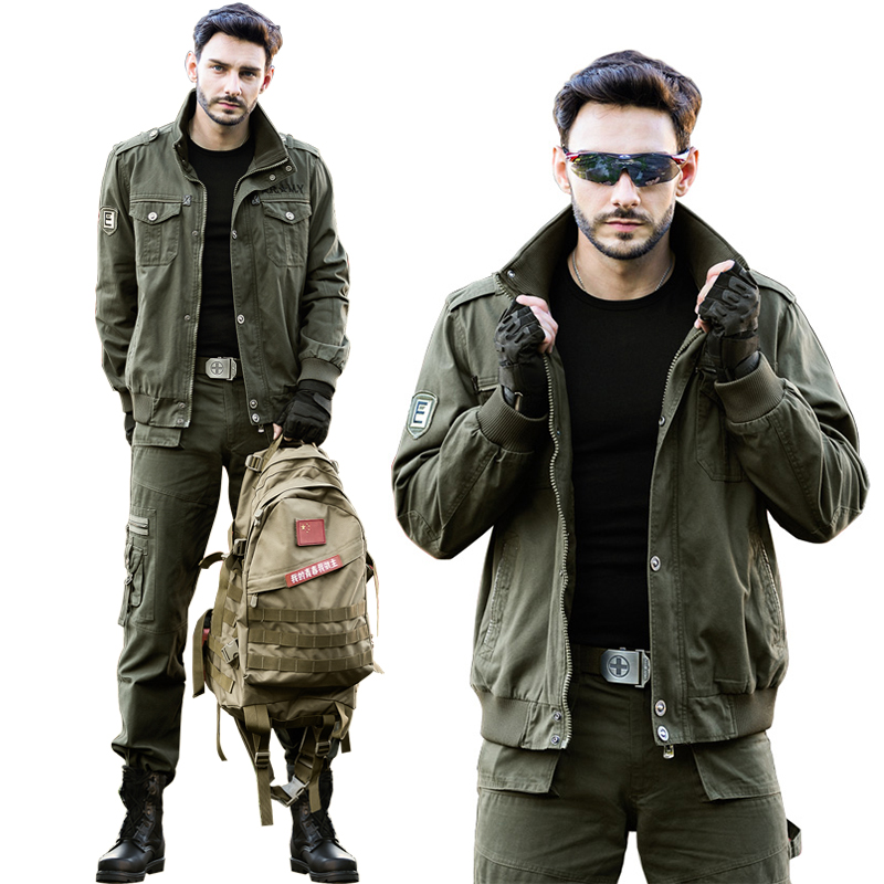 Junno's spring and autumn outdoor sports camouflage clothing Military fan special forces jacket suit men's workwear as training clothes tide