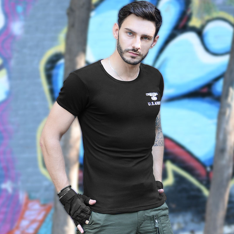 Outdoor Sports Casual Camouflage BottomT Sarton Summer Slim Men's Round Fan Short-SleeveD T-shirt
