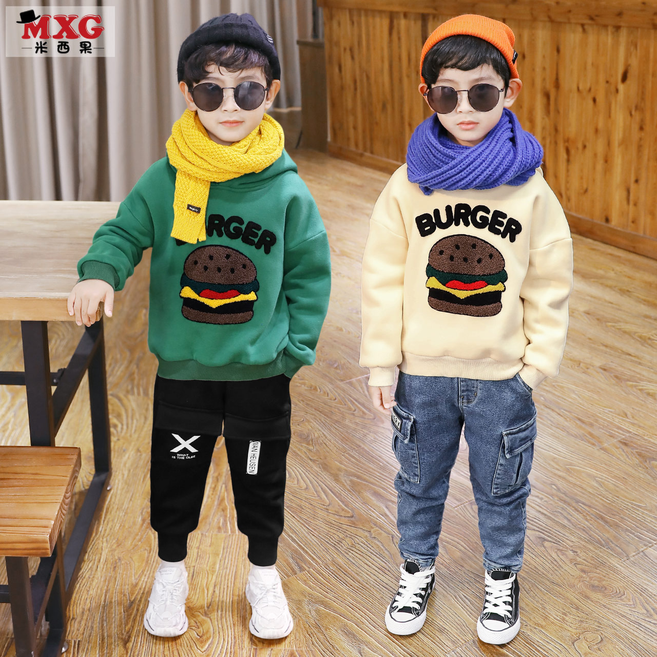Missigo boys plus velvet clothing children thickened warm top tide version of the Korean version of the big boy's boy's clothes