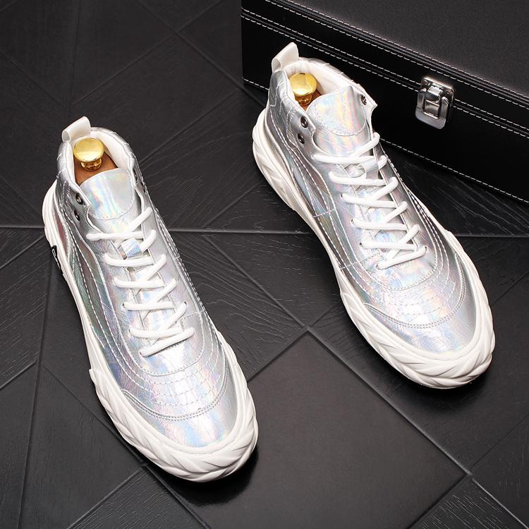 新款厚底高帮休闲鞋韩版百搭板鞋潮流男鞋中邦白色鞋青年短皮靴子