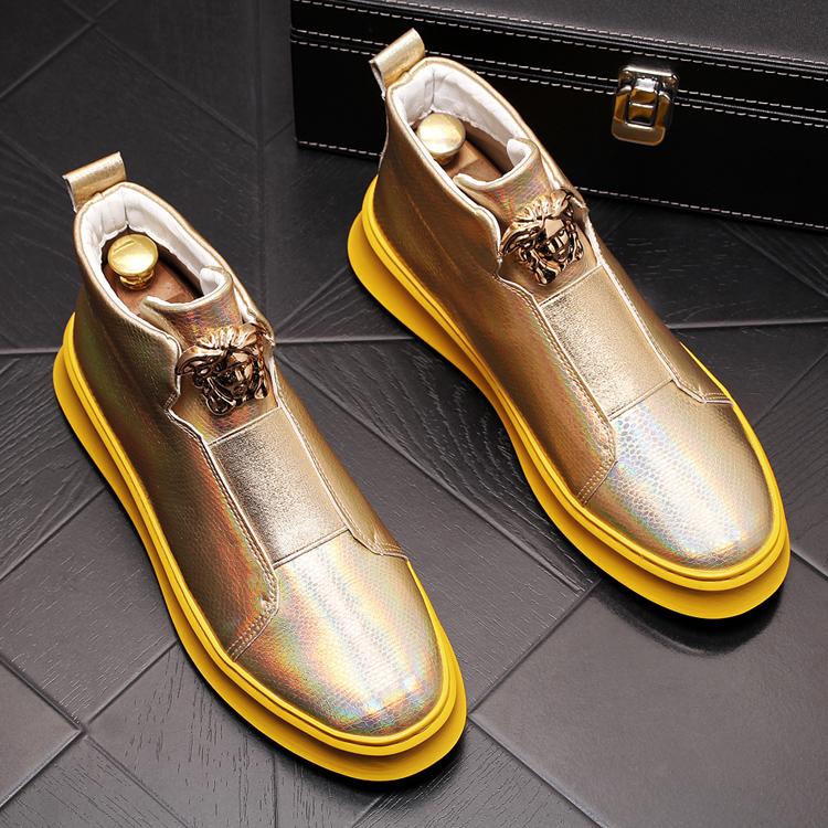 Giày cao cổ nam, cá tính, đế dày, tăng bốt ngắn, xu hướng thời trang, giày cao bồi, giày đế bệt, giày nam - Giày ống