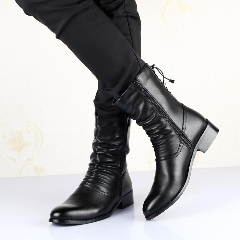 尖头新款英伦高筒靴男靴子韩版时尚潮流男士皮靴男秋冬季保暖长靴
