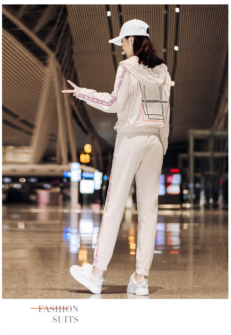 Sportswear set autumn new 2020 Korean version of loose-fitting large-size fashion casual wear two-piece set thin 59
