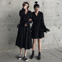 2019 осень новая коллекция талия шифон платье женский черный длинный рукав Популярная длинная юбка прогрессивный Узкая юбка