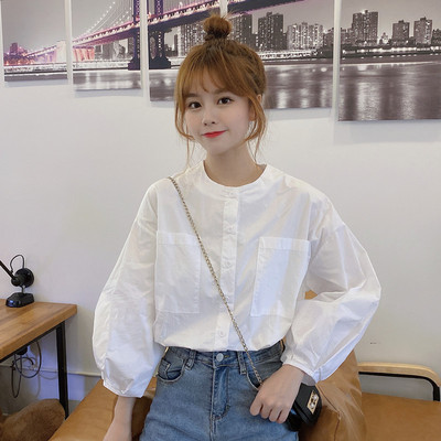 taobao agent Shirt early spring and autumn 2021 new trendy fashion white round neck shirt women's explosive style sweet and age-reducing clothes