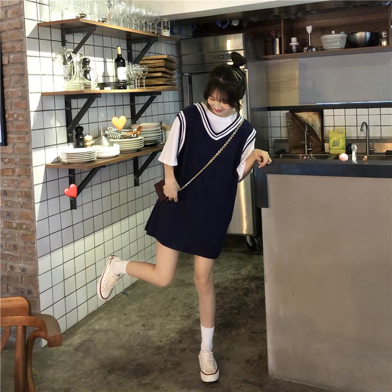 夏装韩版中长版背心裙洋装很仙的女装新款学生超仙甜美裙子详细照片