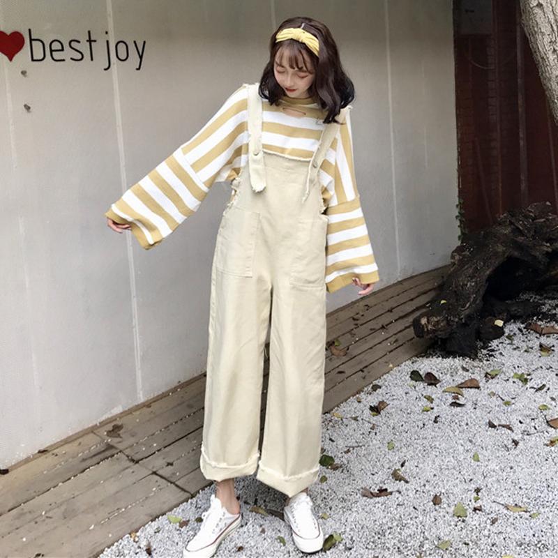 Джинсы женские Весной и осенью Новый женской одежды Хан издание свободные тонкие высокой талией джинсовые комбинезоны широкий брюки девять очков брюки студент брюки волна