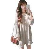 Весна женщины новый корейский V воротник свободный дикий длина с длинными рукавами шевелюра одежда платье студент тонкий