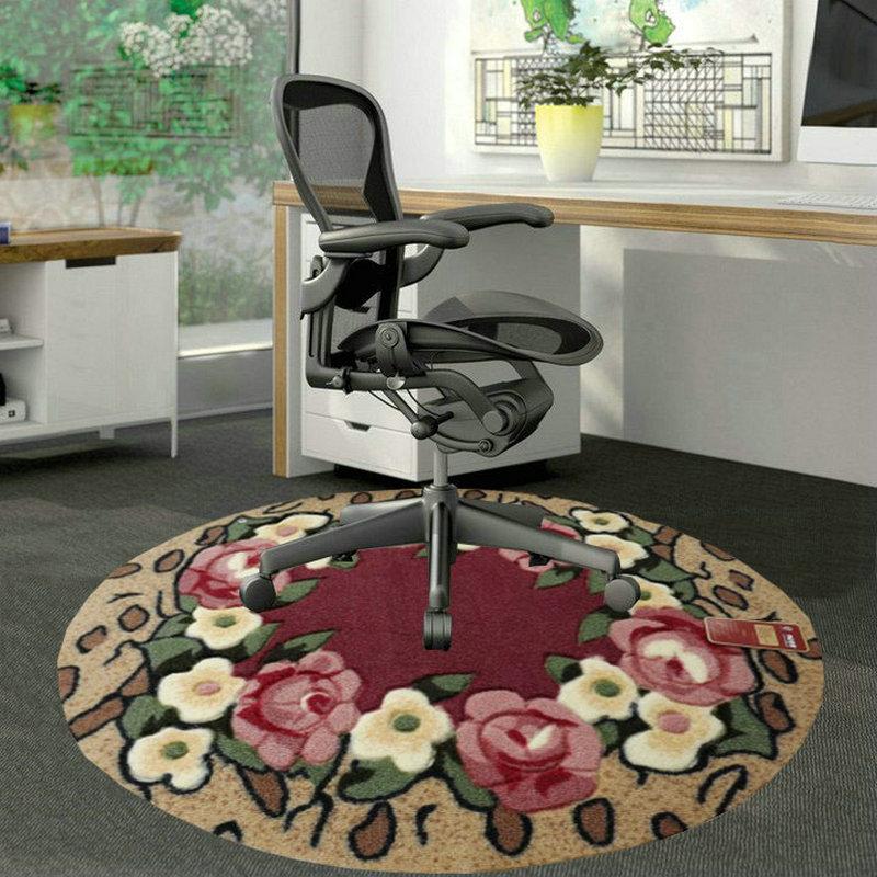 欧式田园 圆形地毯电脑椅垫 手工剪花书房卧室防滑地垫门垫脚垫子