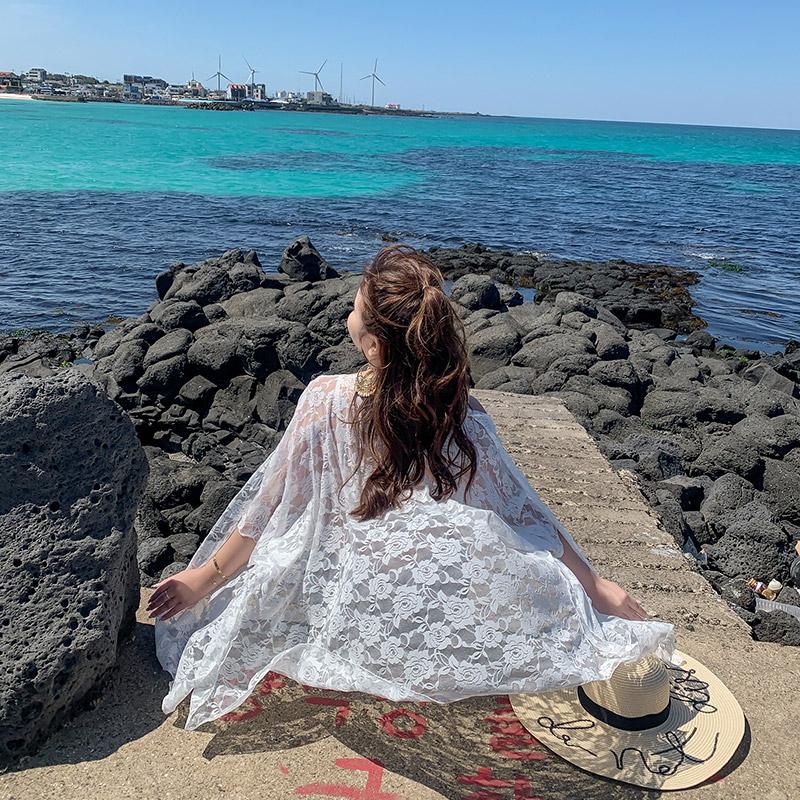 防晒衫女夏2019新款海边度假超仙大码开衫中长款外搭薄纱白色外套