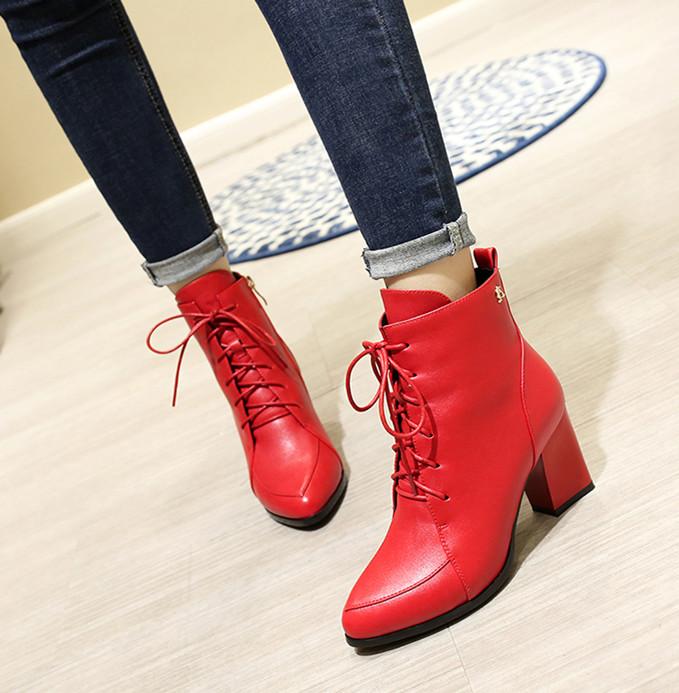 粗跟短靴女加绒女士中跟马丁靴子红色高跟鞋2017秋冬新款百搭女鞋