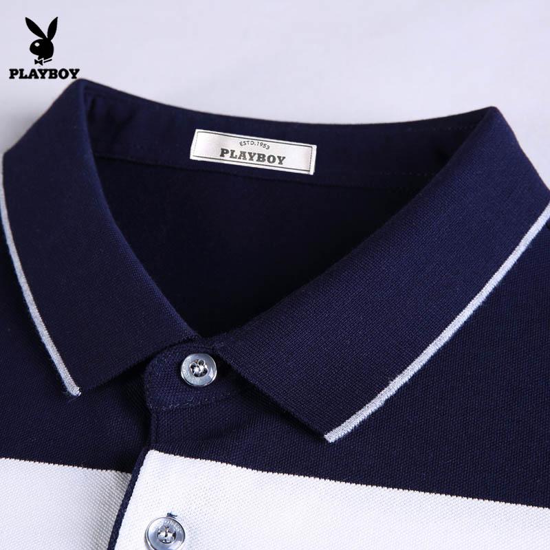 Футболка мужская Плейбой с коротким рукавом футболки мужчин хлопка Slim Fit лацкане рубашки поло летние молодежные в полоску половина рукав рубашки поло