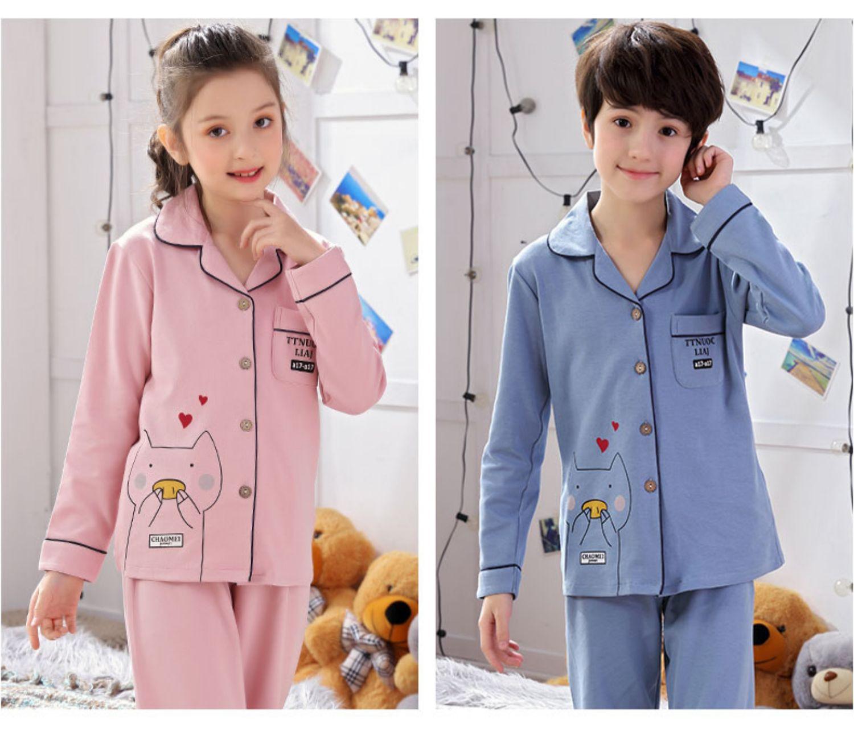 儿童睡衣男童纯棉长袖春秋季小孩女童睡衣长袖中大童家居服套装薄商品详情图