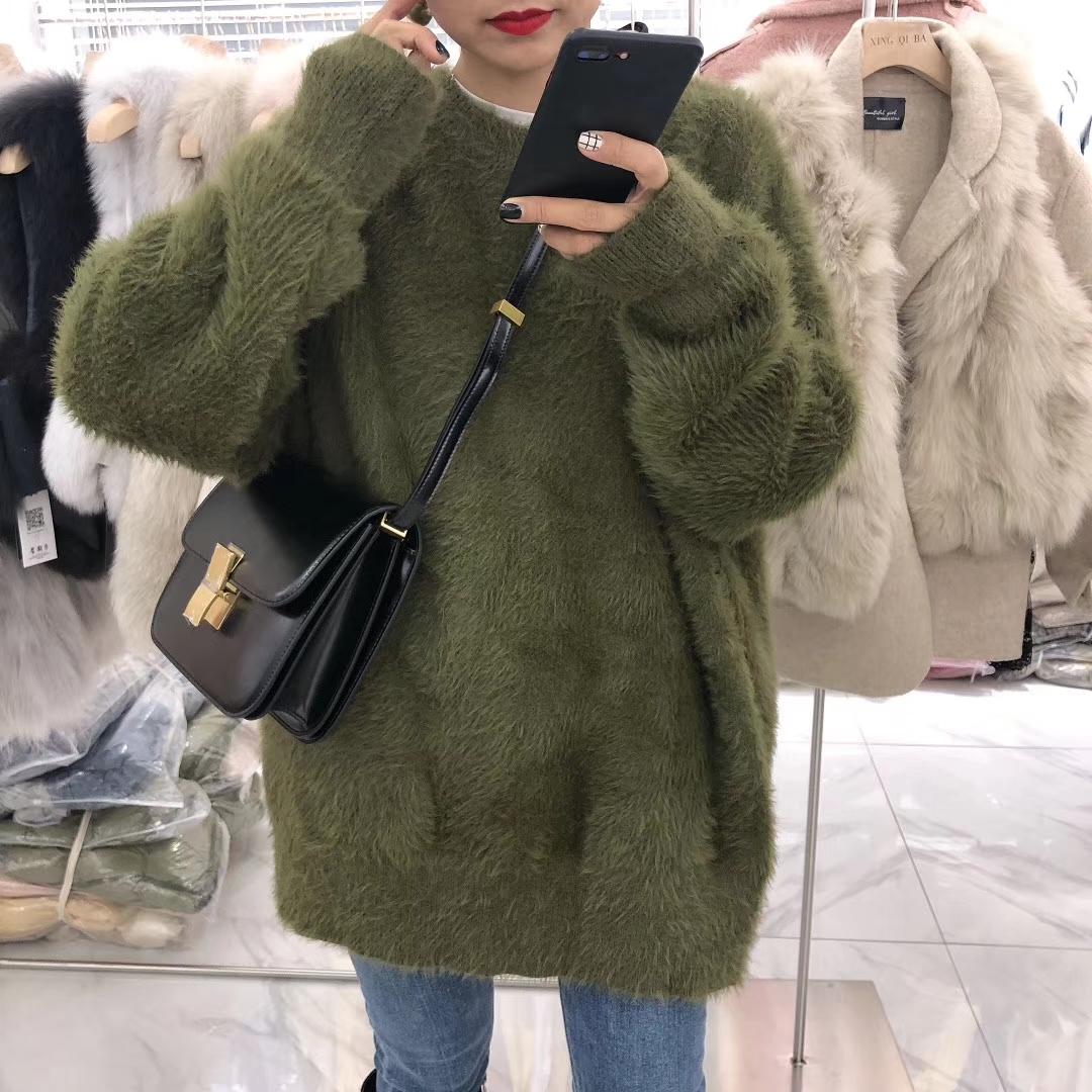 欧洲站高品质宽松大码毛衫冬装2018女装新款廓形水貂绒针织衫上衣