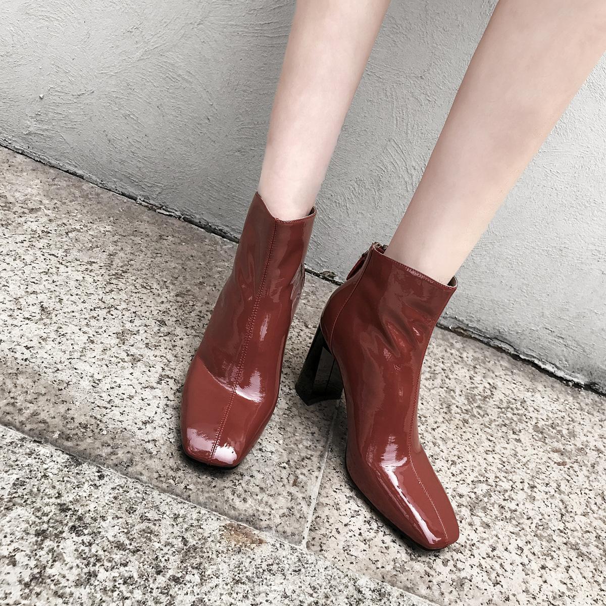 洛百丽专柜正品2018春秋新款女鞋英伦方头马蹄跟女靴子里外真皮短
