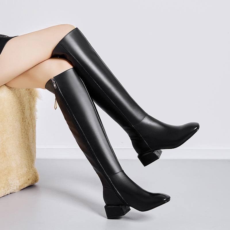 洛百丽专柜正品2018春秋新款女鞋欧美方头中跟女靴子全真皮过膝长