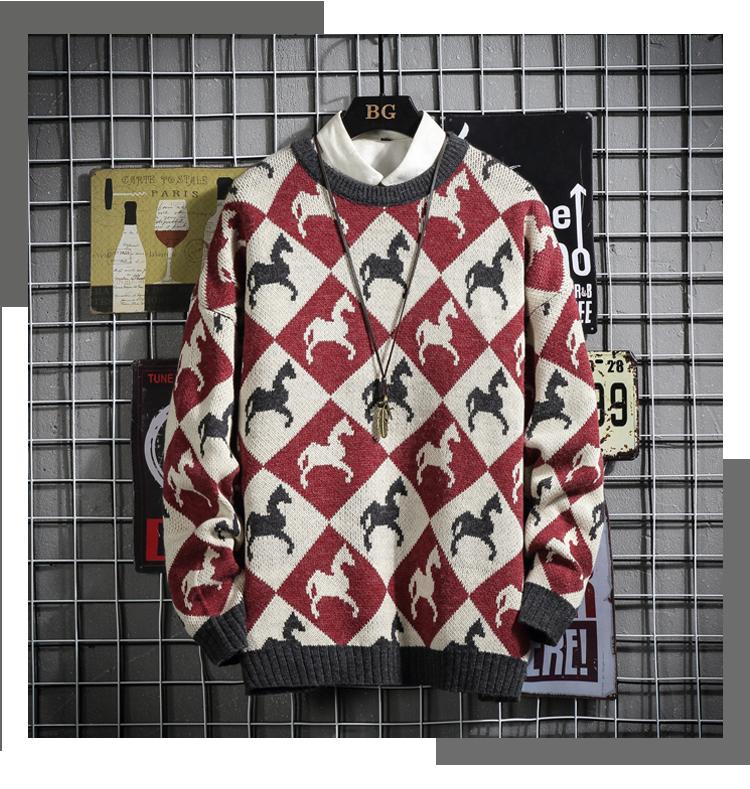 (网格挂拍)仿兔毛高品质男士套头圆领针织衫大码毛衣XJ116P100