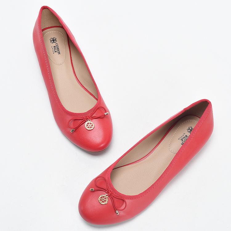 墨染·2121新款外貿大碼圓頭舒適平底鞋蝴蝶結淺口休閒鞋軟底女士單鞋