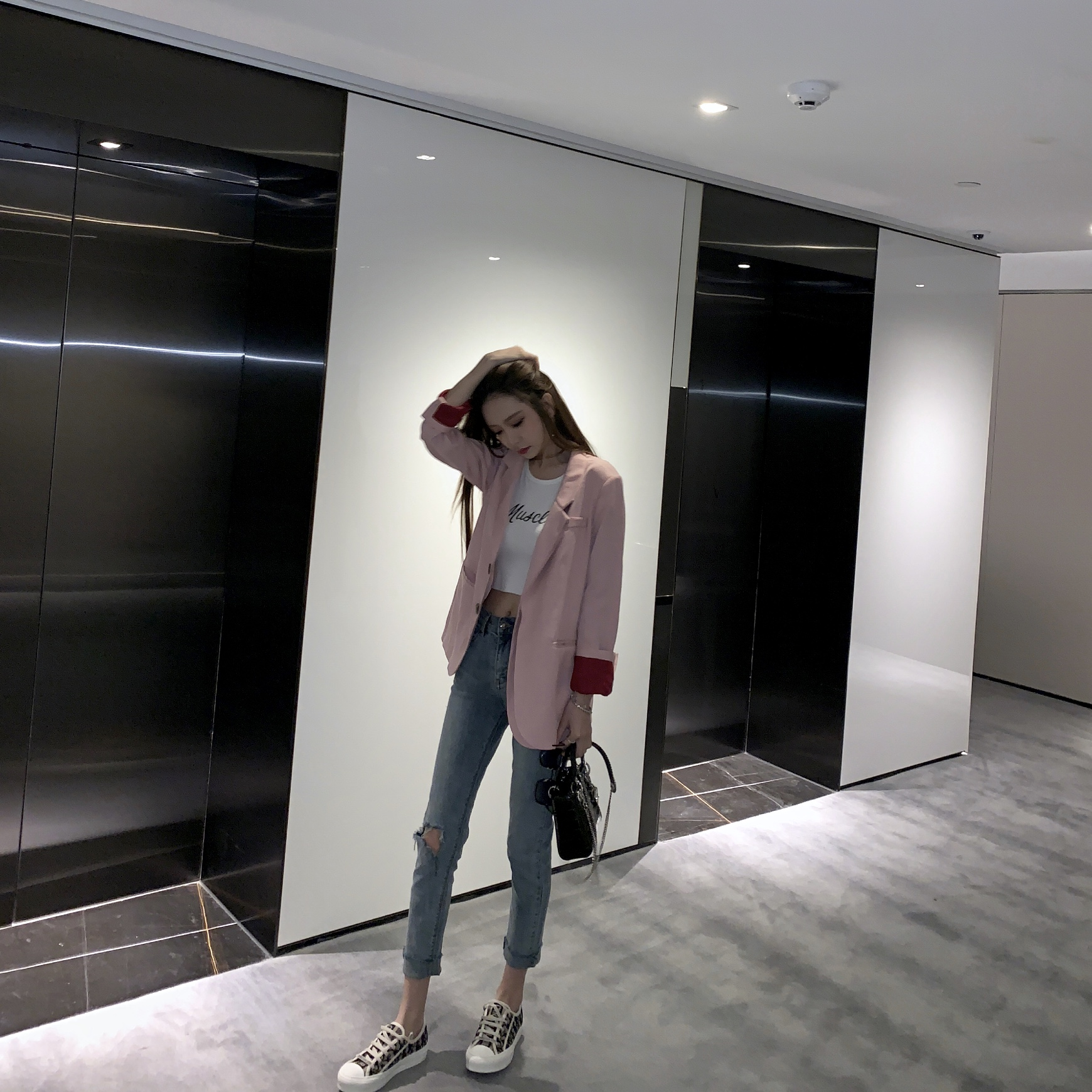 FBB李明萱2019春韩版休闲垂感网红小西装气质宽松chic西装外套女