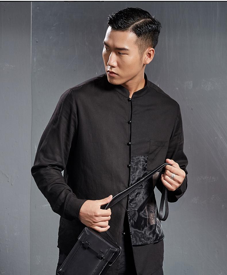 Italian tree Chinese linen shirt print men's long-sleeved top fashion business shirt youth trend jacket (Dark color 170/M) 48 Online shopping Bangladesh