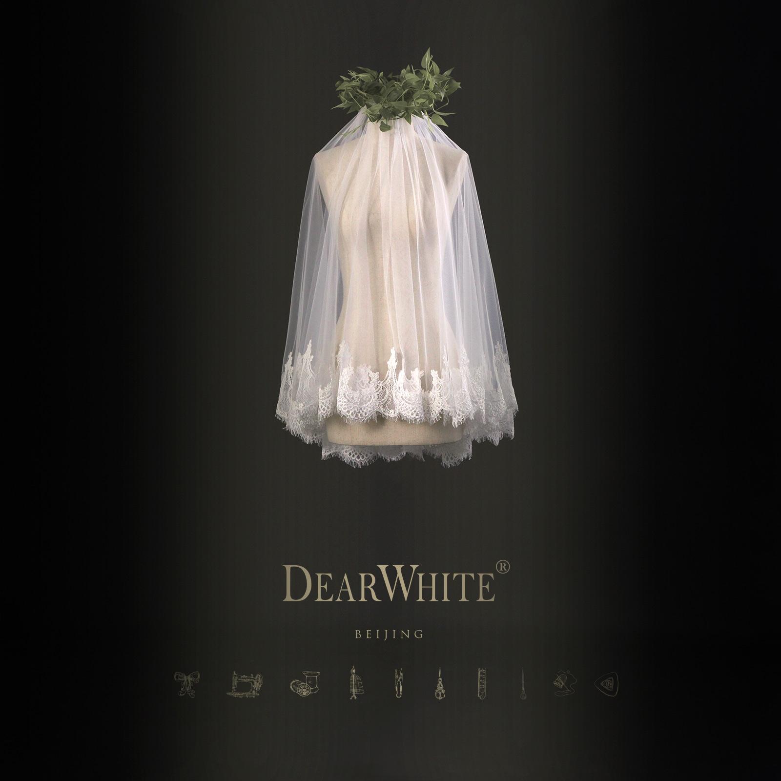 """Близко любовь уайт-плейнс создание подлинного """" облако бамбук «DearWhite новый свадьба корейский краткое модель невеста вуаль"""