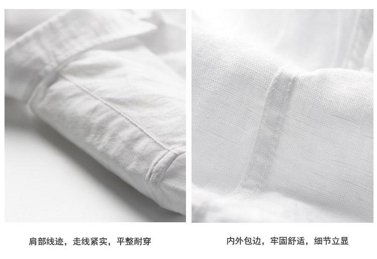 Nhật bản đơn giản giản dị vuông cổ áo linen ngắn tay áo sơ mi nam phần mỏng cotton thoáng khí và linen áo Slim màu rắn nửa tay áo áo sơ mi lụa cao cấp nam