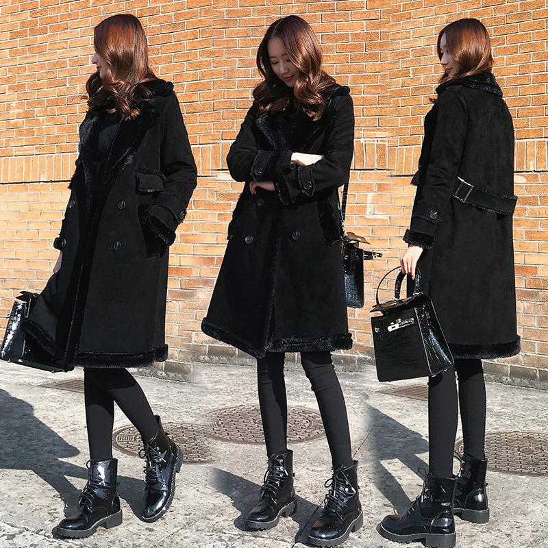 清仓换季!!!韩版麂皮中长款棉衣黑色皮毛女宽松时尚绒外套一体