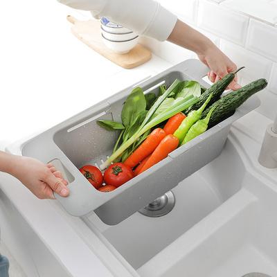 厨房伸缩沥水架水槽蔬菜置物架家用塑料收纳架水池碗碟架沥水碗架