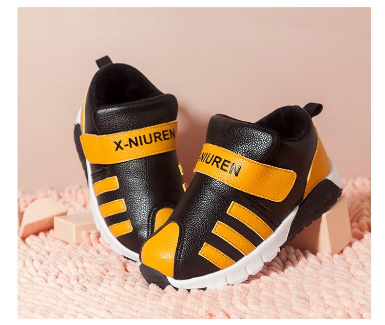 小牛人童鞋男童女童学步棉鞋加绒加厚运动鞋宝宝鞋健康软底二棉鞋4张