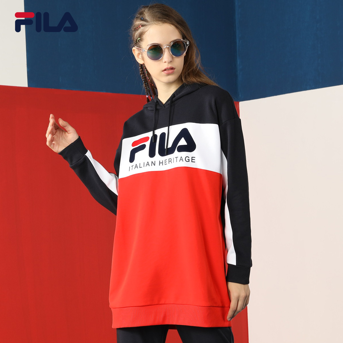 2ec1f574d583 FILA Fei Le female sweater official authentic New knit long pullover large  F LOGO sports sweater women