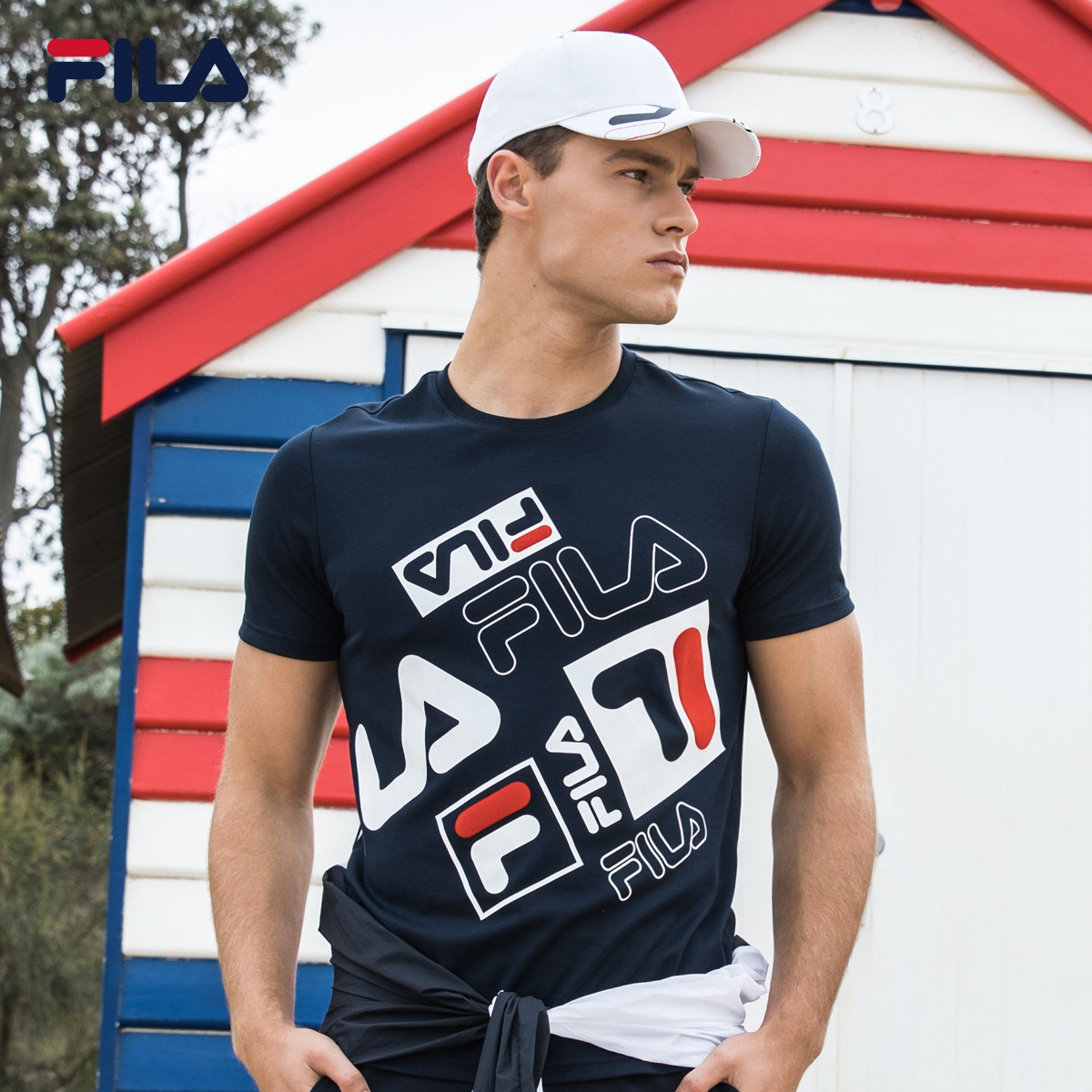 a2b41b22c8a FILA Fei Le Male T-shirt 2018 official authentic short-sleeved T male  fashion
