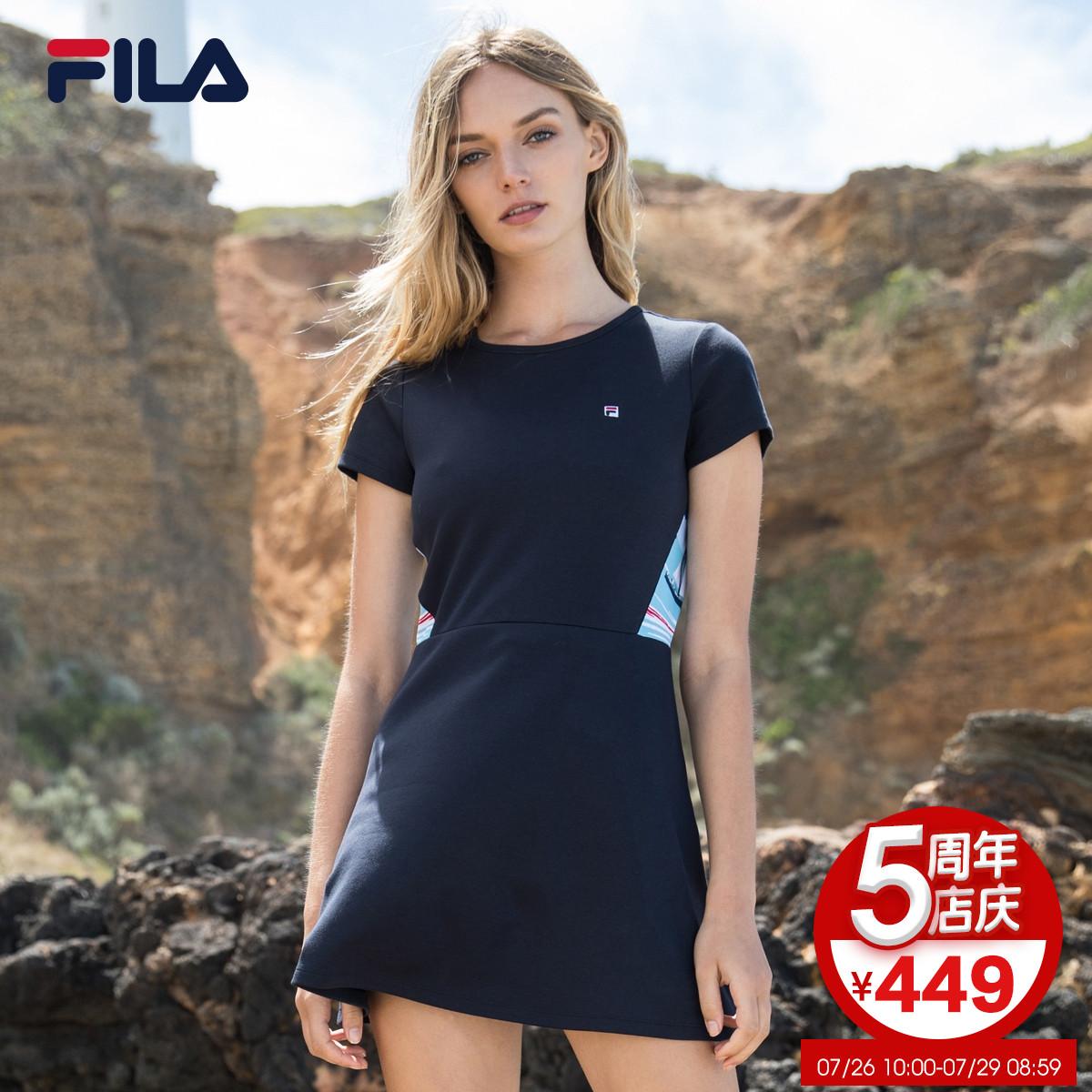 FILA Fila dress 2018 mùa hè mới đơn giản thanh lịch thoải mái thể thao thoáng khí ăn mặc giản dị