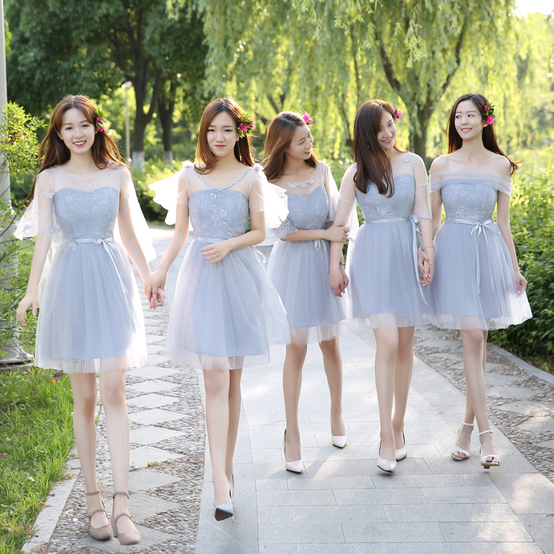 Bridesmaid dress short female 2018 new Korean version of the sister group  gray graduation party activities small dress was thin skirt summer