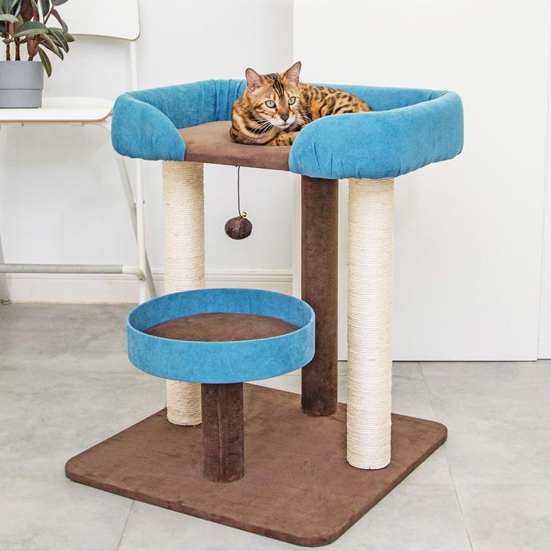 梅子猫&凯瑞猫窝猫爬架一体猫床网红猫沙发上下铺四季床垫剑麻柱