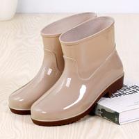 Дождевые сапоги женские низкие трубки нескользящие мужской Дождевые сапоги короткие трубки замшевый Водная обувь мужские и женские популярный Сапоги рабочие ботинки средние водонепроницаемый башмак