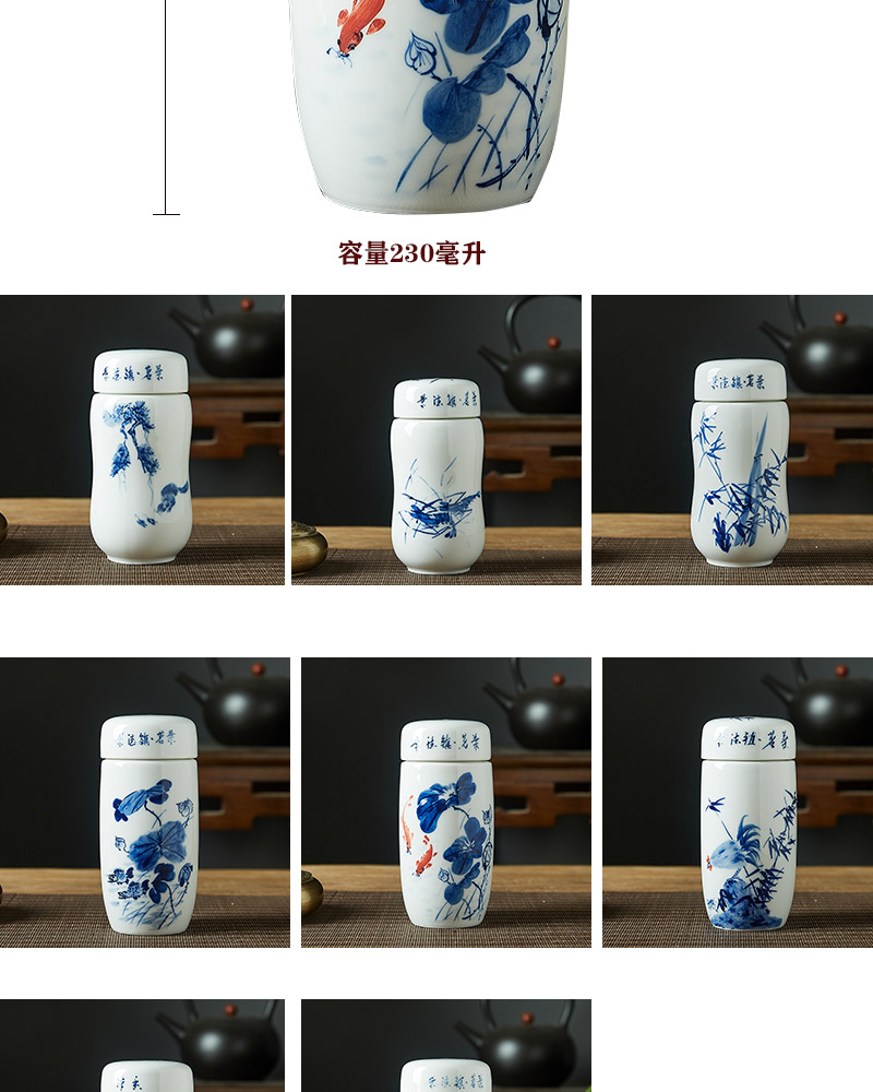 Jingdezhen ceramic cups ms vacuum cup men 's double cup with cover under the blue and white porcelain glaze hand - made car filter