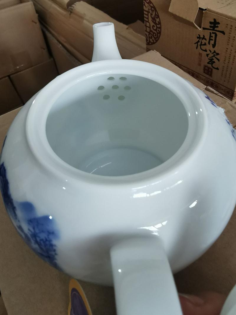 Jingdezhen ceramic teapot single pot of kung fu tea set of blue and white porcelain white porcelain teapot household small tea kettle