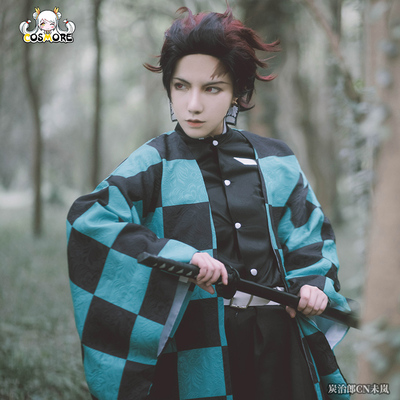 taobao agent Manchuang Ghost Destroyer Blade cos stove door Tanjiro cospaly clothing full set of wigs for men and women
