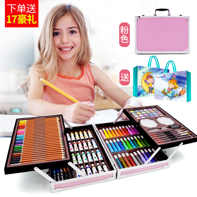 DOUBLE OPEN ALUMINUM ALLOY 145 PIECES SET POWDER + GIFT BAG  BUY ONE GET 17