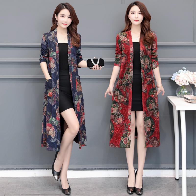 女款风衣开衫女2019韩版新款外套外披长袖中长款春秋款修身厚外搭