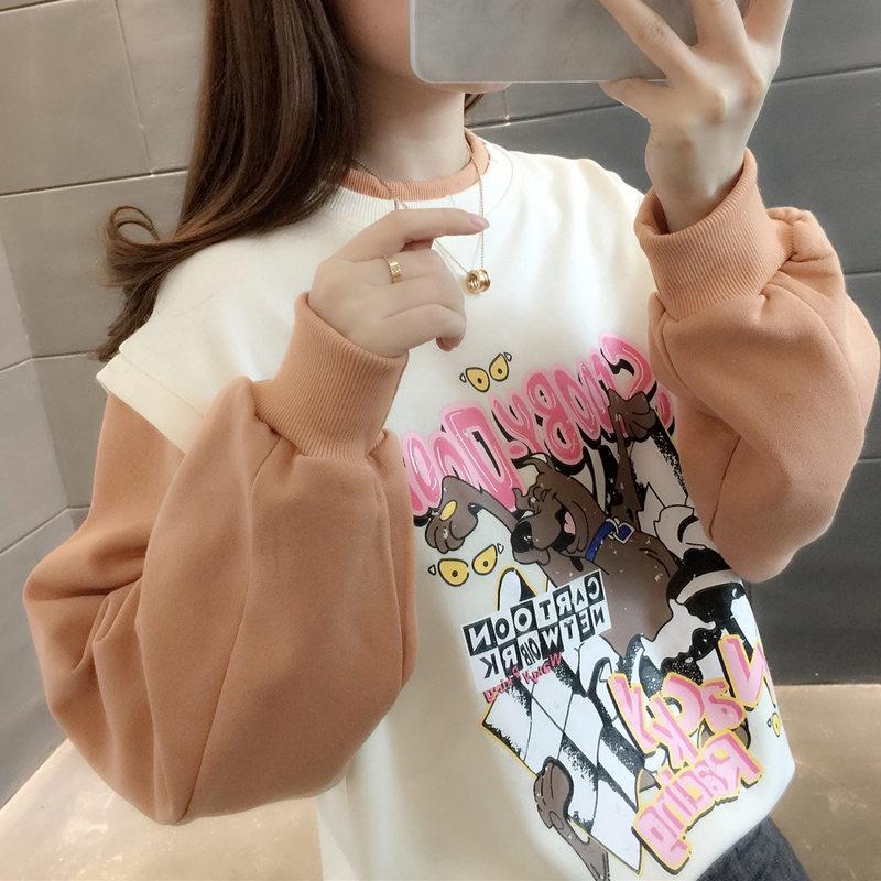 Quần áo nữ Hàn Quốc 2020 áo len giả mới hai mảnh nữ lỏng lẻo bf lười áo khoác ngắn in quần áo thủy triều - Áo len