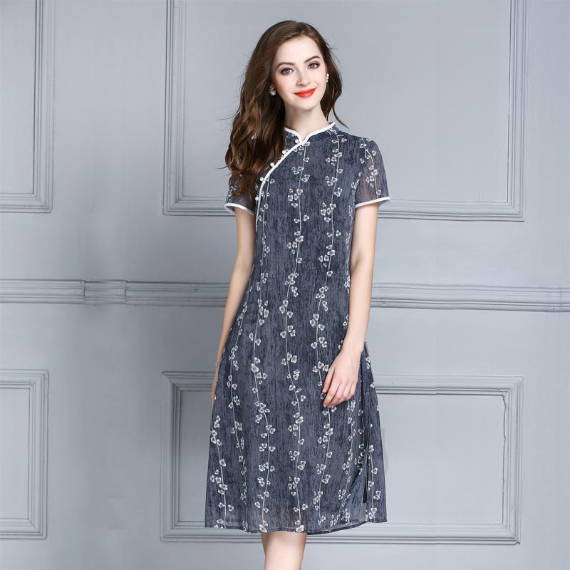 Mực Qinghua 2017 mùa hè mới tính khí đi lại cải thiện sườn xám retro cổ áo thanh lịch Slim in dress